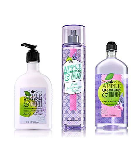 Bath and Body Works - APPLE BLOSSOM & LAVENDER - Body Lotion - Fine Fragrance Mist & Shower Gel - Trio Gift Set