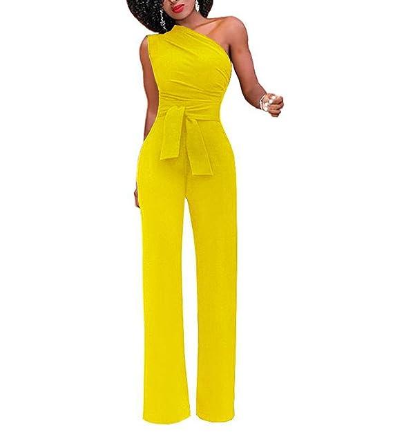 3a1abbaab7127 TieNew Mujer One-Hombro Monos Verano Pantalones Largos para Fiesta Club  Color Sólido Mono Elegante Jumpsuits