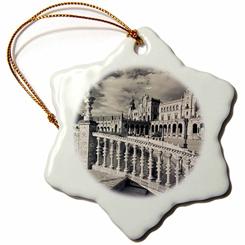 3dRose orn_139538_1 Spain, Seville, Buildings of The Plaza Espana Eu27 Wbi0985 Walter Bibikow Snowflake Ornament, Porcelain, 3-Inch by 3dRose