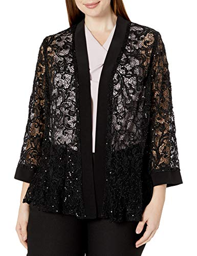 R&M Richards Women's 1 Piece Plus Size Laced Long Jacket with Sequins, Black, 1x