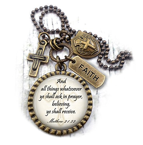(And All Things Whatsoever Ye Shall Ask In Prayer Necklace, Matthew 21:22 Bible Verse, Scripture, Christian Gift, Men, Boys, Teens, Unisex)