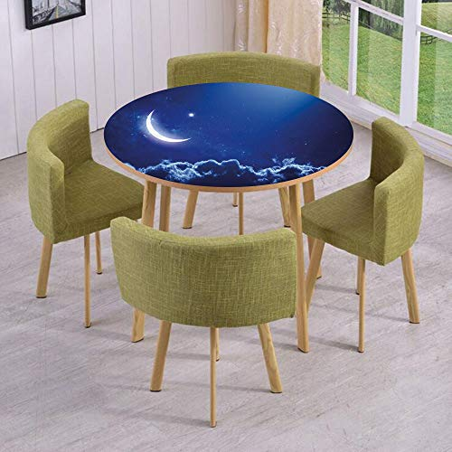 Round Table/Wall/Floor Decal Strikers/Removable/Crescent Moon in Dark Blue Sky with Vibrant Stars Celestial View Midnight Image Decorative/for Living Room/Kitchens/Office Decoration (Screen Celestial Fireplace)