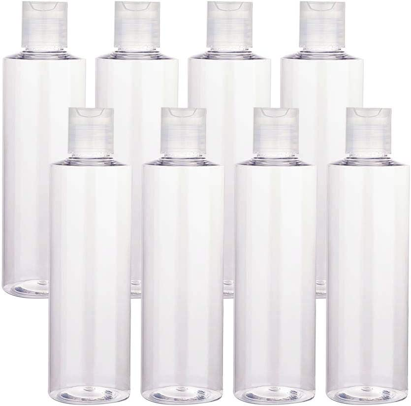 BENECREAT 8 Pack 250ml Botellas Transparente Contenedores Vacíos de Plástico Pet para Jabón de Manos Limpiador Facial, Botellas Recargables y Portátil