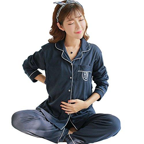 狂気一般証明Sufoen マタニティ パジャマ 授乳服 長袖 ルームウェア 授乳口 コットン ウエストサイズに調節可 産前 産後 前開き (L, ブルー)