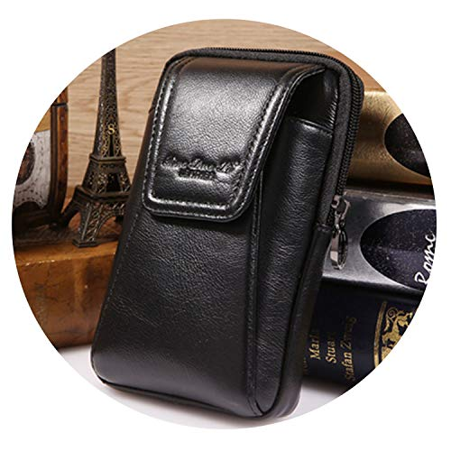 Men's Waist Bag Genuine Leather Fanny Packs Hip Bum Belt Purse Small Pouch for Cell Mobile Phone Cigarette Pocket Case,Vertical Black