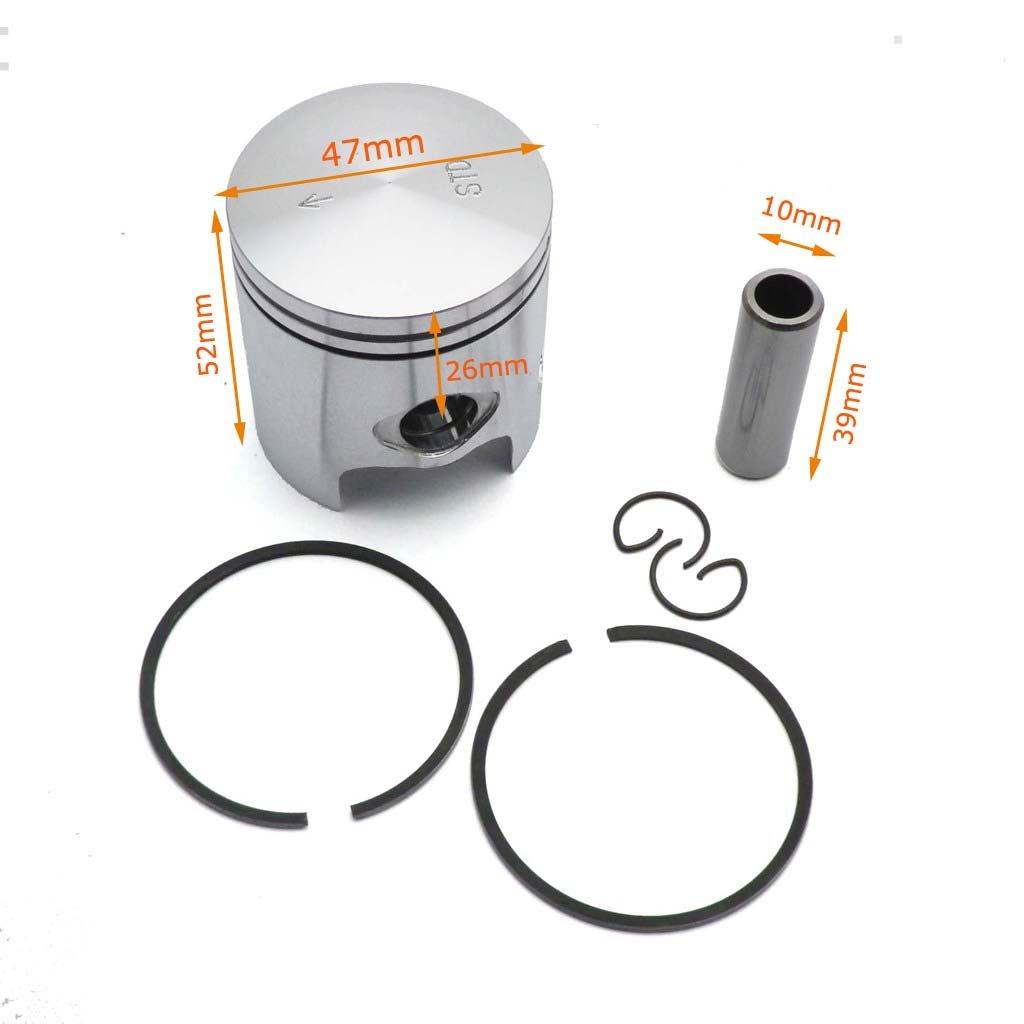 YunShuo Piston w/ Ring Set 47mm 10mm Wrist Pin for 70cc Big Bore Minarelli 1PE 40QMB by YunShuo (Image #3)