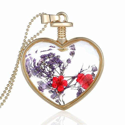 Molyveva Fashion Pressed Flower Teardrop Pendant Necklace Glow Pendant Braided Cord Rope Necklace Chain