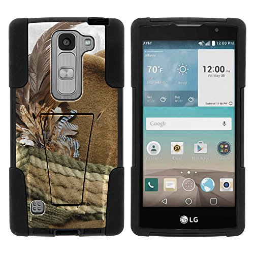 MINITUTLE Compatible with LG Escape 2 High Impact Silicone Gel and PC Fusion Strike with Stand Phone Case Hunting | Rope and Feathers