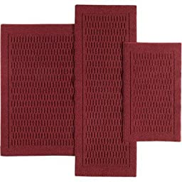 Mainstays Dylan Nylon Accent Rugs, Set of 3, Red Burgundy