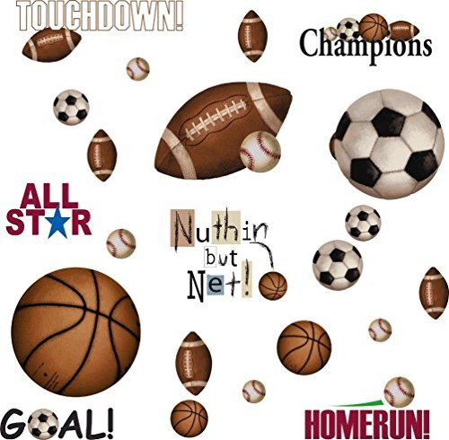 Soccer Ball Wall Stickers (Lunarland Sports 25 BiG Wall Stickers FOOTBALL BASKETBALL SOCCER Room Decor Ball Decals)