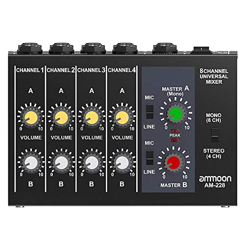 ammoon AM-228 Ultra-compact Low Noise 8 Channels Metal Mono Stereo Audio Sound Mixer with Power Adapter Cable ()