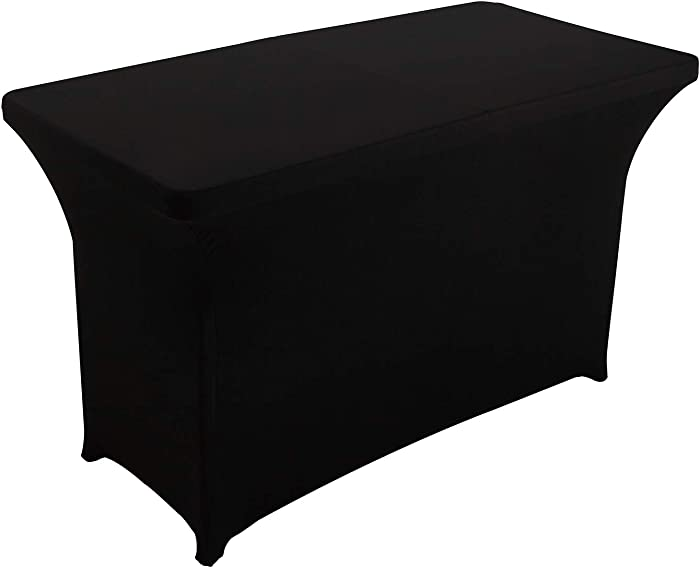 FELIZEST Spandex Table Cover 4 ft. Fitted Polyester Tablecloth Stretch Spandex Table Cover (4ft, Black)