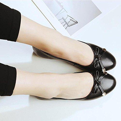 L@YC Zapatos Planos Para Mujer Primavera Y OtoñO CóModo De Cuero Plana Con Nudo De Cuero Oficina De Nudo Black