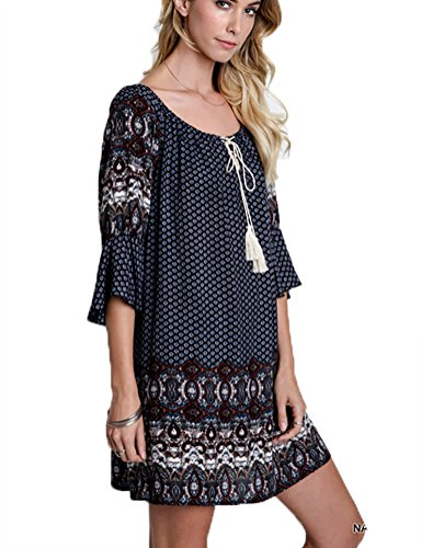 Boho-Chic Vacation & Fall Looks - Standard & Plus Size Styless - Umgee Women's Mixed Print Bell Sleeve Peasant Dress