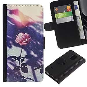 [Neutron-Star] Modelo colorido cuero de la carpeta del tirón del caso cubierta piel Holster Funda protecció Para Samsung Galaxy S5 V SM-G900 [Retro Flor rosada de la foto]