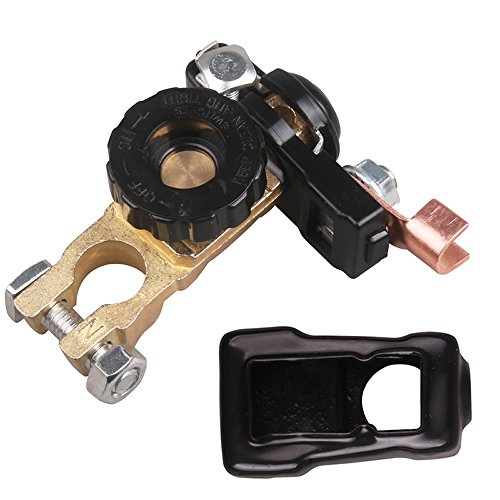 Battery Attach Kit - Universal Battery Quick Disconnect Switch Top Mount Knob Cut Off Master Kill 15-17MM Terminal Adapter DC 12V 24V with Negative Clamp Clip Lug Plate and PVC Cover for Auto Motor Car Vehicle Truck Boat