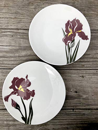 - Pair of Purple Iris Plates, Artist Appetizer Plates, Large Dinner Plate, Pottery Dishes, Wedding Gift, White and Yellow Plates, Gift for Her