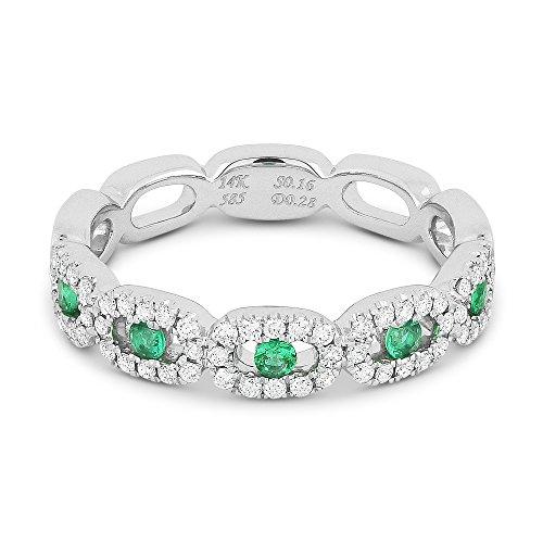 Emerald Gemstone & Accented Diamond Ring Set In 14K (0.1 Ct Gemstones)
