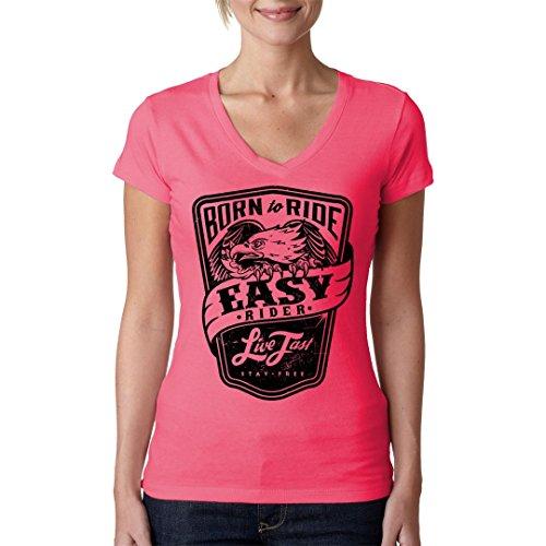 Biker Girlie V-Neck Shirt - Biker Shirt: Born to Ride by Im-Shirt Light-Pink 6V76Jq