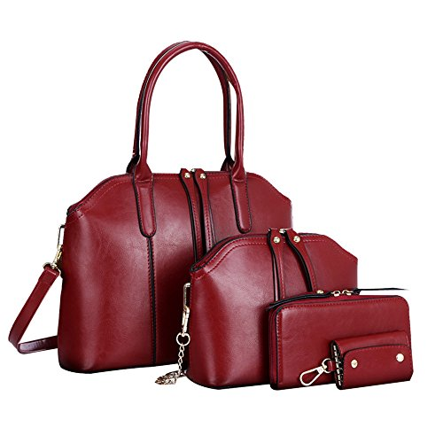 Wallet with Litchi Women's Shoulder Mobile Satchel Bag Tote Red Clutch Messenger 3Pcs Leather Pattern Handbag Packet nbsp;b Bag Corssbody Clearance Handbags vB0qn