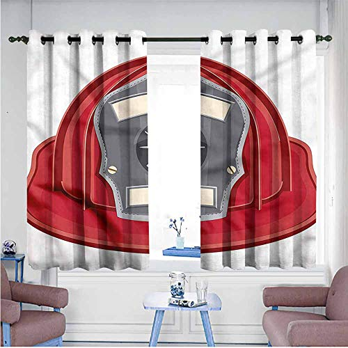 Mdxizc Bedroom Curtain Fireman Classic Firefighter Sign Bedroom Blackout Curtains W55 xL63 Suitable for Bedroom,Living,Room,Study, etc.