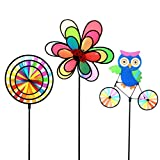 ASWCOWY Pinwheels Windmills Wind Spinners 3 Pack Made of Durable 100% Weatherproof Nylon and Fiberglass Children's Toys Outdoor Camping Kindergarten Garden Lawn Yard Decor (style1)