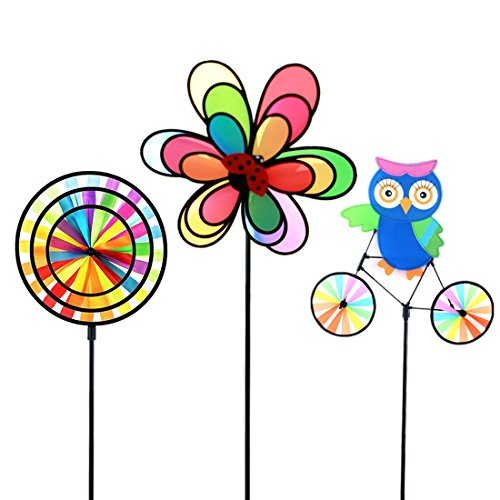 - ASWCOWY Pinwheels Windmills Wind Spinners 3 Pack Made of Durable 100% Weatherproof Nylon and Fiberglass Children's Toys Outdoor Camping Kindergarten Garden Lawn Yard Decor (style1)