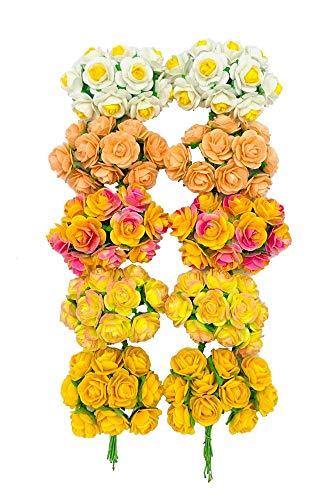 수제는 100 개 미니즈 혼합 옐로우 컬러 뽕나무 종이 꽃 15-18MM 스크랩 웨딩 인형의 집 공급 카드를 작은 장미입니다
