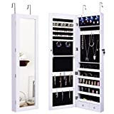 Giantex Wall Door Mounted Jewelry Armoire Organizer with Mirror Locking Organizer with LED Lights