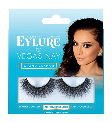 Eylure Vegas Nay Grand Glamour Fake Eyelashes, Reusable, Adhesive Included, 1 Pair