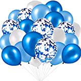 Blue and White Balloons, Blue Confetti Balloons White Balloons Total 90 pcs Latex Party Balloons for Hen Party Wedding Baby Shower Birthday Party Decoration