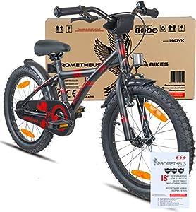 prometheus bicycles prometheus kinderfahrrad 18 zoll jungen m dchen schwarz matt rot ab 6 jahre. Black Bedroom Furniture Sets. Home Design Ideas