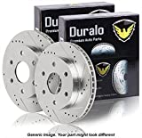 Pair New Duralo Premium Performance Drilled And Slotted Front Brake Disc Rotors - Duralo 152-1042 New