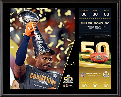 """Von Miller Denver Broncos 12"""" x 15"""" Super Bowl 50 Champions Sublimated Plaque with Replica Ticket - NFL Player Plaques and Collages"""