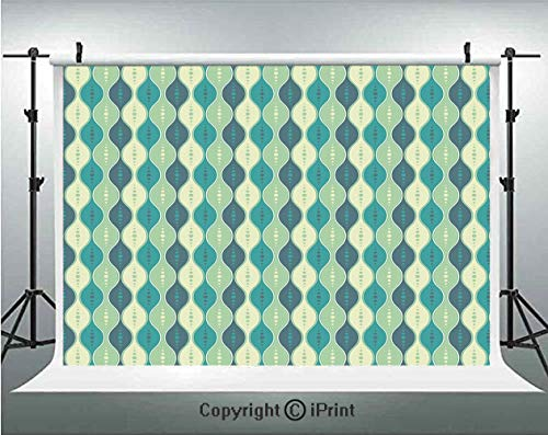 - Abstract Photography Backdrops Oval Curved Vertical Lines with Classic Effects Dots Retro Graphic Decorative,Birthday Party Background Customized Microfiber Photo Studio Props,10x6.5ft,Sea Green Petro