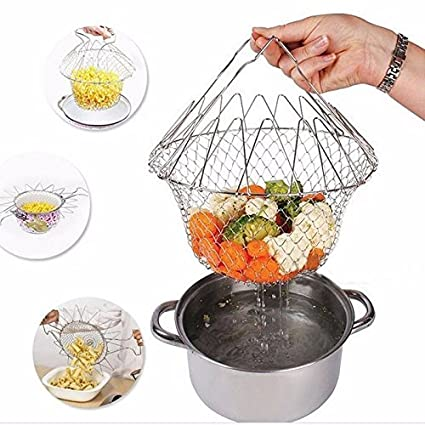 Deziine 12 in 1 Kitchen Tool Chef Basket, Foldable Steam Rinse Strain Magic Stainless Steel Strainer Net Basket for Kitchen Cooking
