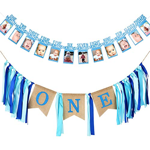 SATINIOR First Birthday Banner 1st Birthday Decoration Boy Supplies includes Baby Photo Banner 12 Months Banner and 1st Birthday Bunting Garland for Baby Birthday Baby Boy Fresh Cookies