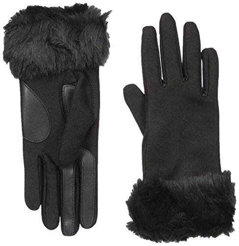 Isotoner Women's Boiled Wool smarTouch Gloves with Faux Fur, Black, Small/Medium