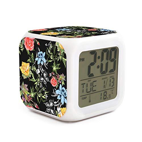 JWOJJUAW Wake Up Tropical Floral Lilies Roses Dimmer Snooze LED Nightlight Bedroom Desk Travel Digital Loudest Alarm Clock for Kids Girls ()