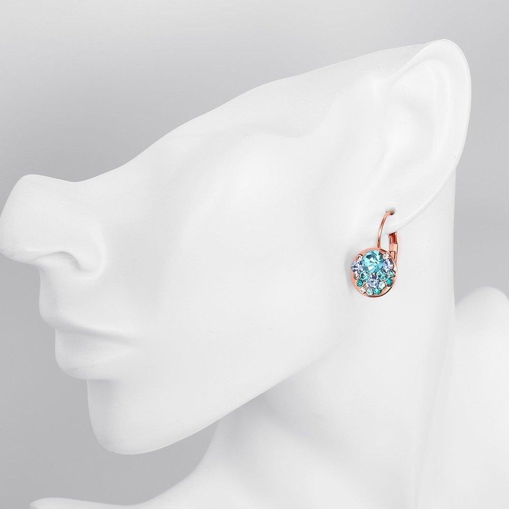 Rolicia mujeres eco-friendly aleación de estaño rosa placa de oro azul rhinestone checo taladro moda pendientes: Amazon.es: Joyería