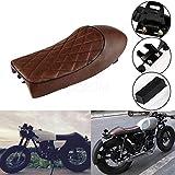 FidgetFidget Universal Motorcycle Brown Vintage Hump Motorcycle Custom Cafe Racer Seat Saddle