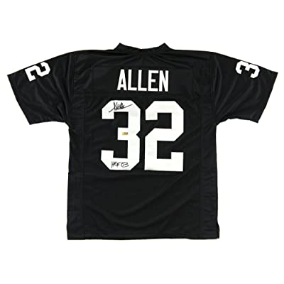 Marcus Allen Signed Oakland Raiders Black Custom Jersey with HOF 03