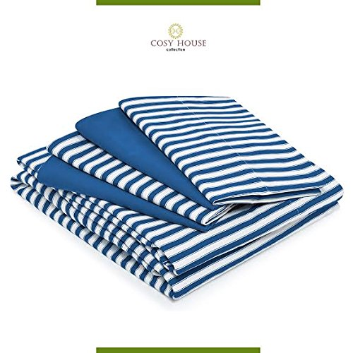 6-Piece Bamboo Bed Sheet Sets with Stripes by Cosy House - Silky Soft, Rayon and Microfiber Blend Bedding with Deep Pockets - Wrinkle and Odor Free Set - Hypoallergenic | Queen, Royal Blue