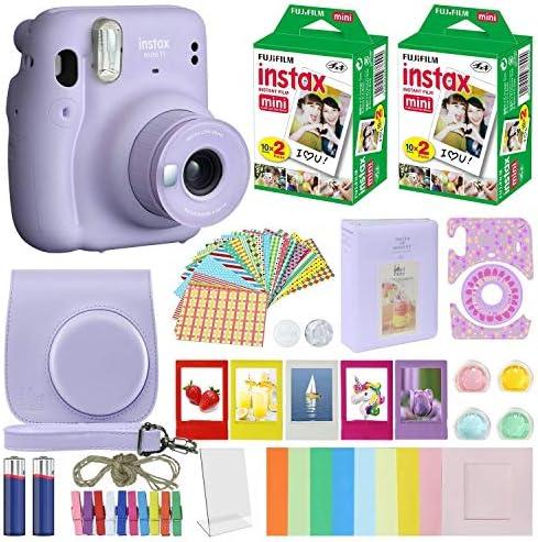 Fujifilm Instax Mini 11 Instant Camera + MiniMate Accessories Bundle + Fuji Instax Film Value Pack (40 Sheets) Accessories Bundle, Color Filters, Album, Frames (Lilac Purple, Standard Packaging)