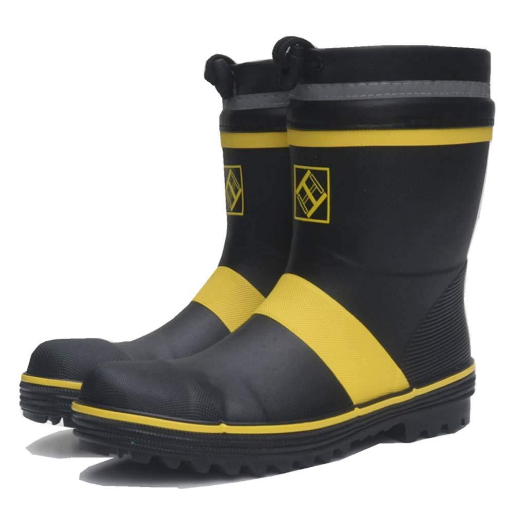 GONGFF Men's Tube Steel Head Steel Safety Labor Insurance rain Boots stab-Resistant Anti-Smashing Industrial Rubber Work Shoes Waterproof,Black,46