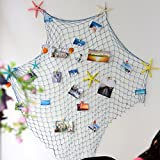 Wanrane Mediterranean Style Fish Net,Mediterranean Style Decorative Fish Net with Shells Blue (Color : White)