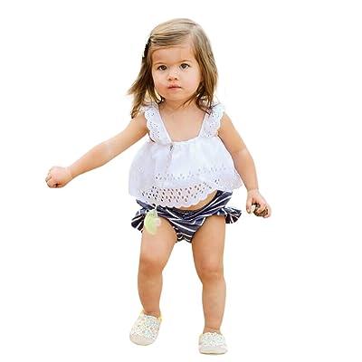 Elyseesen Chic 2pcs Bébé Bambin Bébés Filles Dentelle Striped Vêtements Tops + Shorts Ensemble Tenues