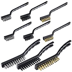 Sunmns Handle Stainless Steel Metal Wire Scratch Brush Set Cleaning Welding Slag Rust