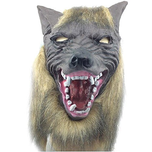 Popular Animal Wolf Head With Hair Mask Fancy Dress Costume Party Scary Wolf Grey