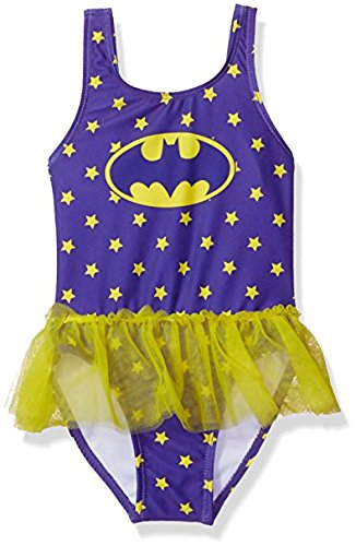 Warner Bros. Toddler Girls' Batgirl Swimsuit, Eggplant, 4T
